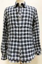 MS2787 Ombre Check Layered Front Body Pearl Dot Wired Shirt  #85 Blue x White
